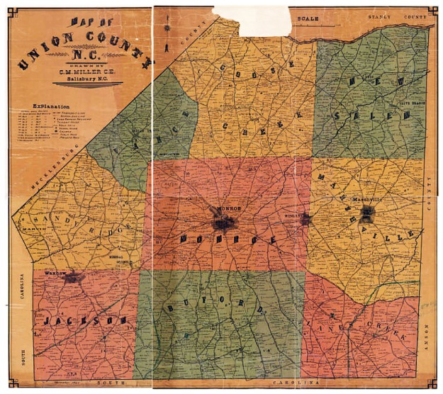 Map_of_Union_County_NC_Calvin_M_Miller