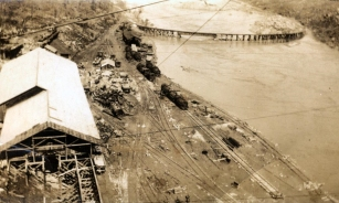 The Narrows Dam Constructon Site early in the scope of the project