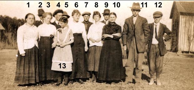 The Burris Family: (1) maybe Sally - Jack Burris' wife, (2) Noah or Green Burris (brother of John Adam Burris, (3) Ola Burris, (4) Jack Burris, (5) Noah or Green Burris, (6) Ellen Burris, (7) Jesse Burris, (8) Allie Burris, (9) Dave Burris, (10) Sophia Lucinda Coley Burris (wife of John Adam Burris), (11) John Adam Burris, (12) Ivey Burris, (13) Zula Burris